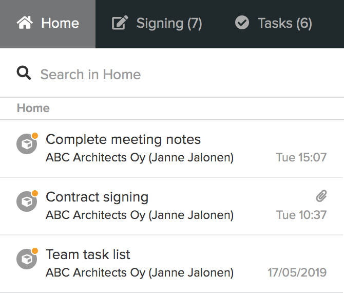Home space and chat list in the Home view