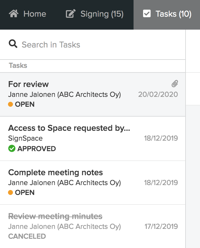 Task list in the Tasks view