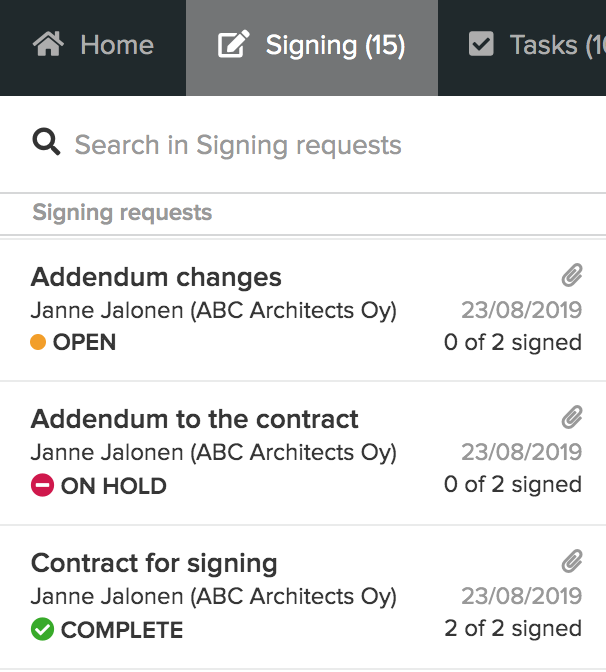 Signing requests list in the Signing view