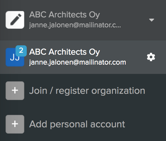 Open accounts menu with one accounts