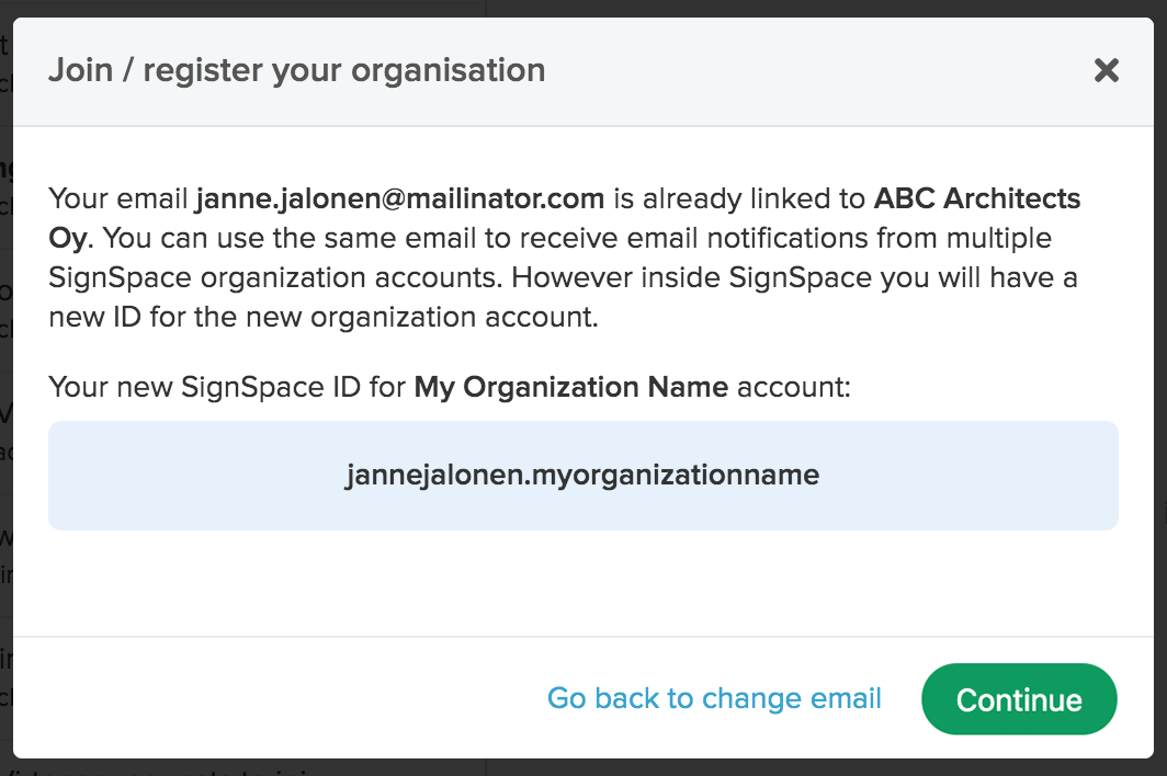 Email invitation to join organization