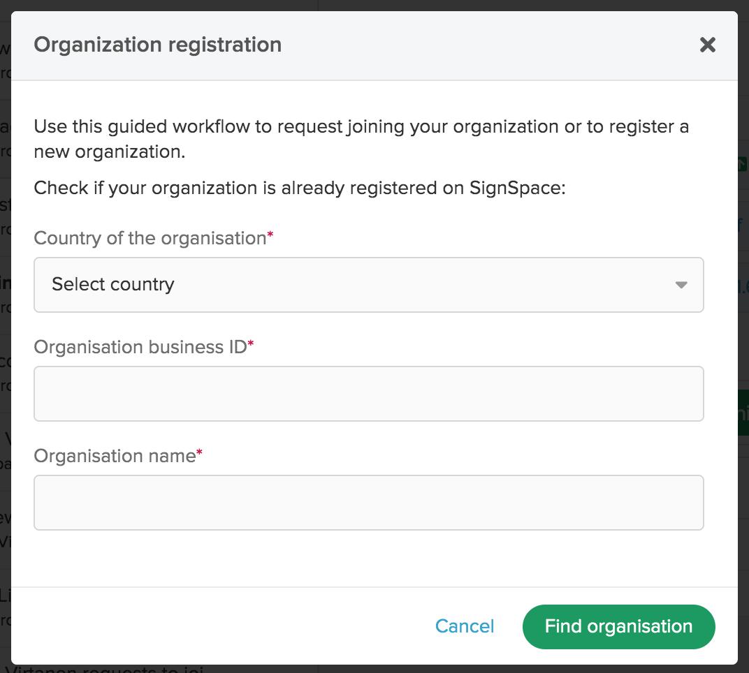 Second step of new organization registration