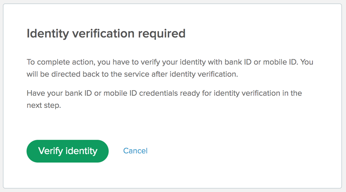 Beginning of the electronic identity verification