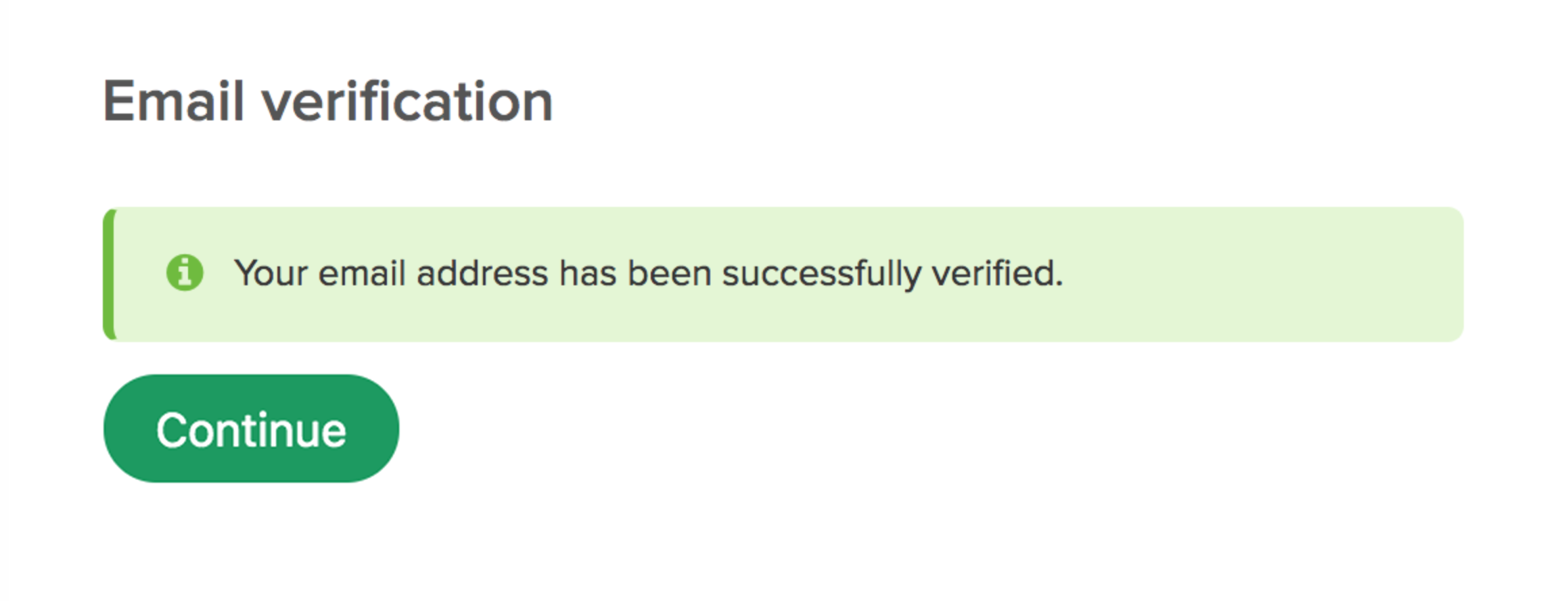Email verification success message