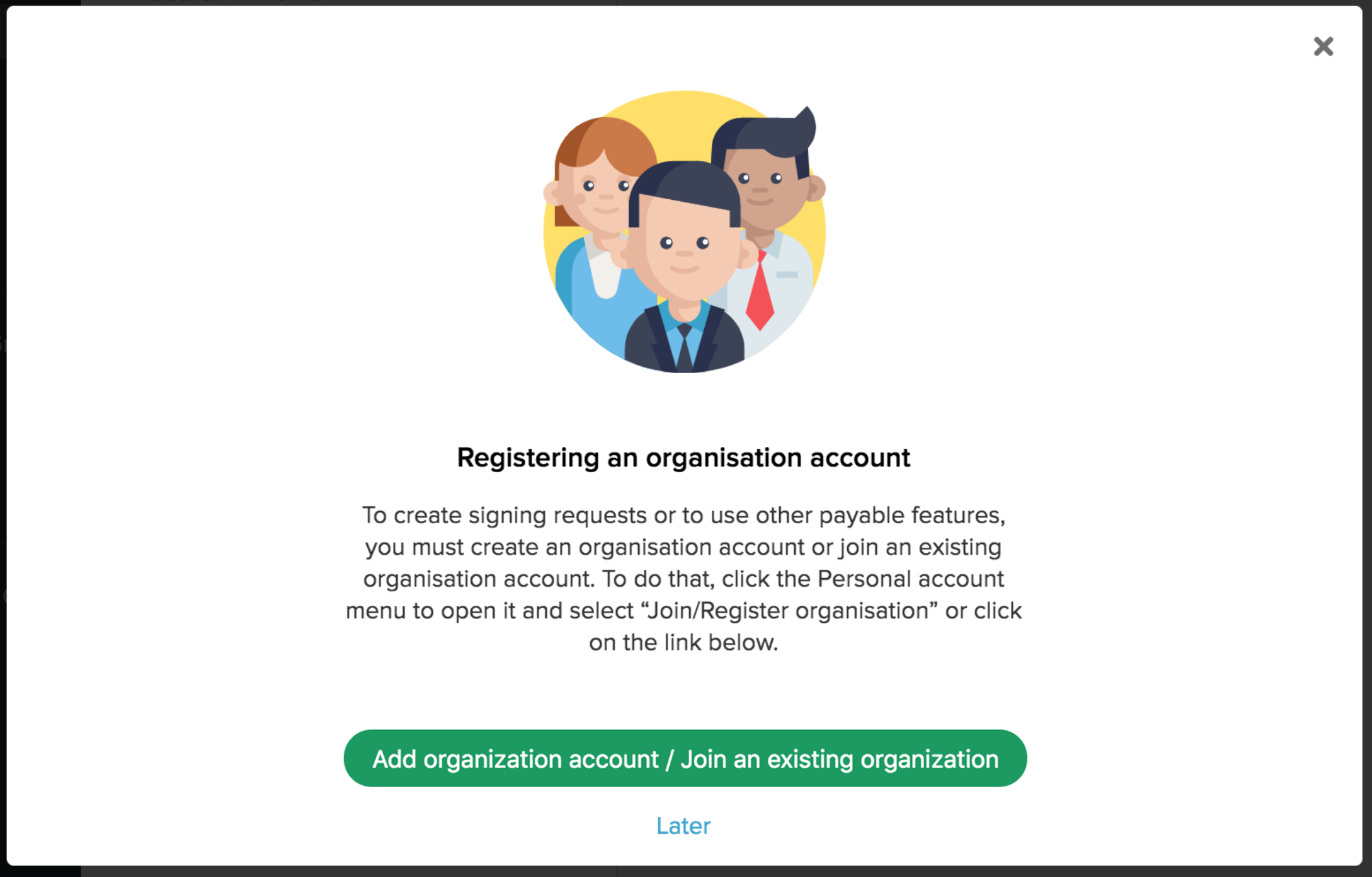 Mouseover on the organization icon