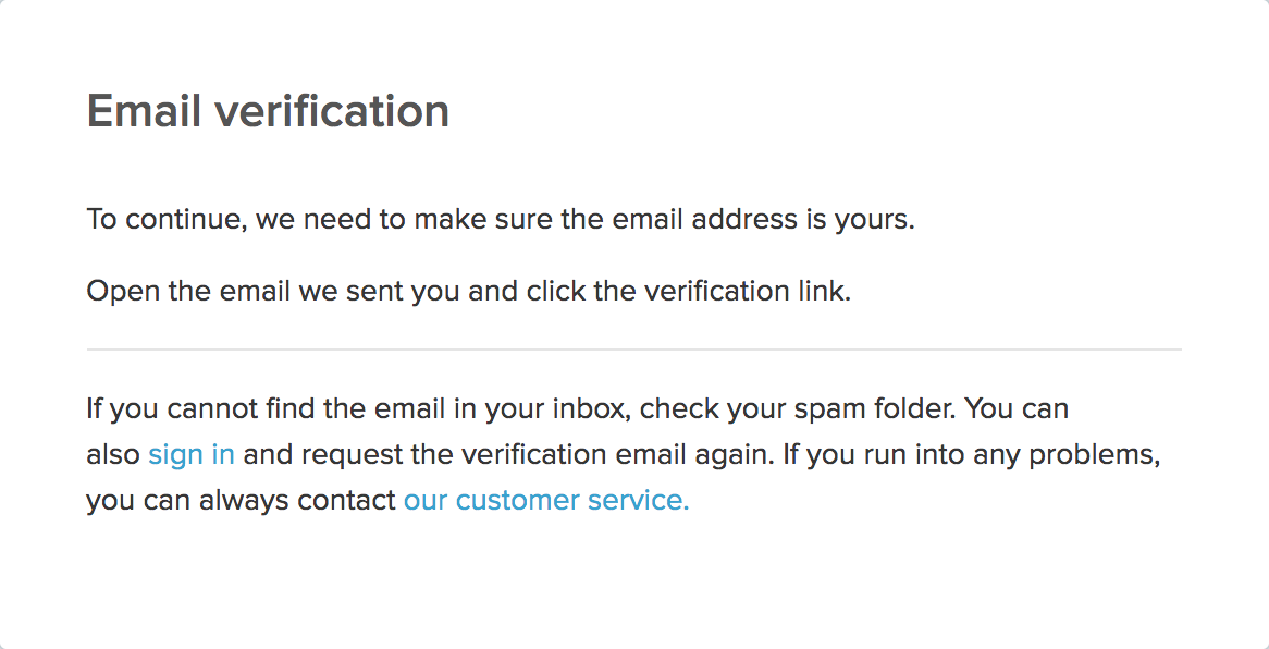 Email verification notification