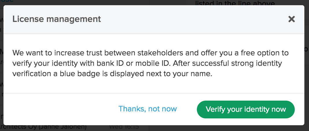 Modal for verifying your identity strongly
