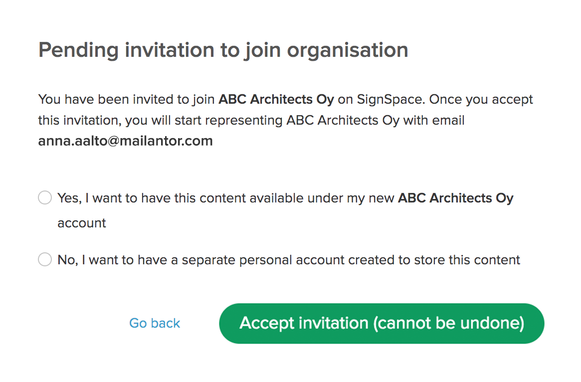 Confirmation about accepting organization invitation