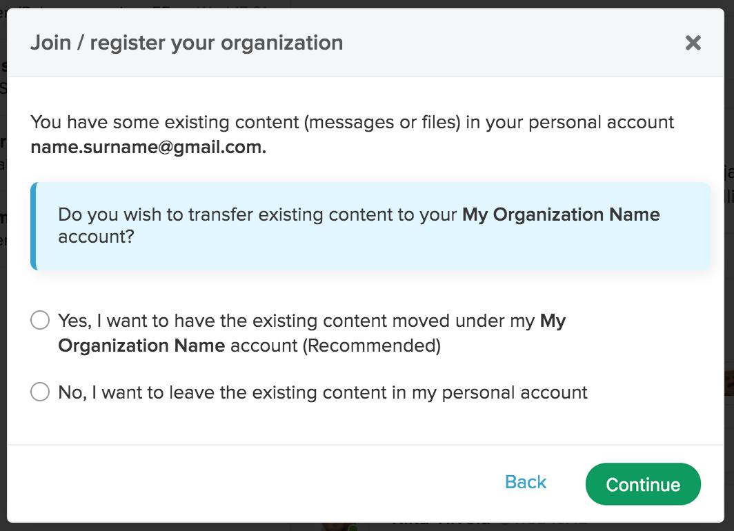 Organization user management page