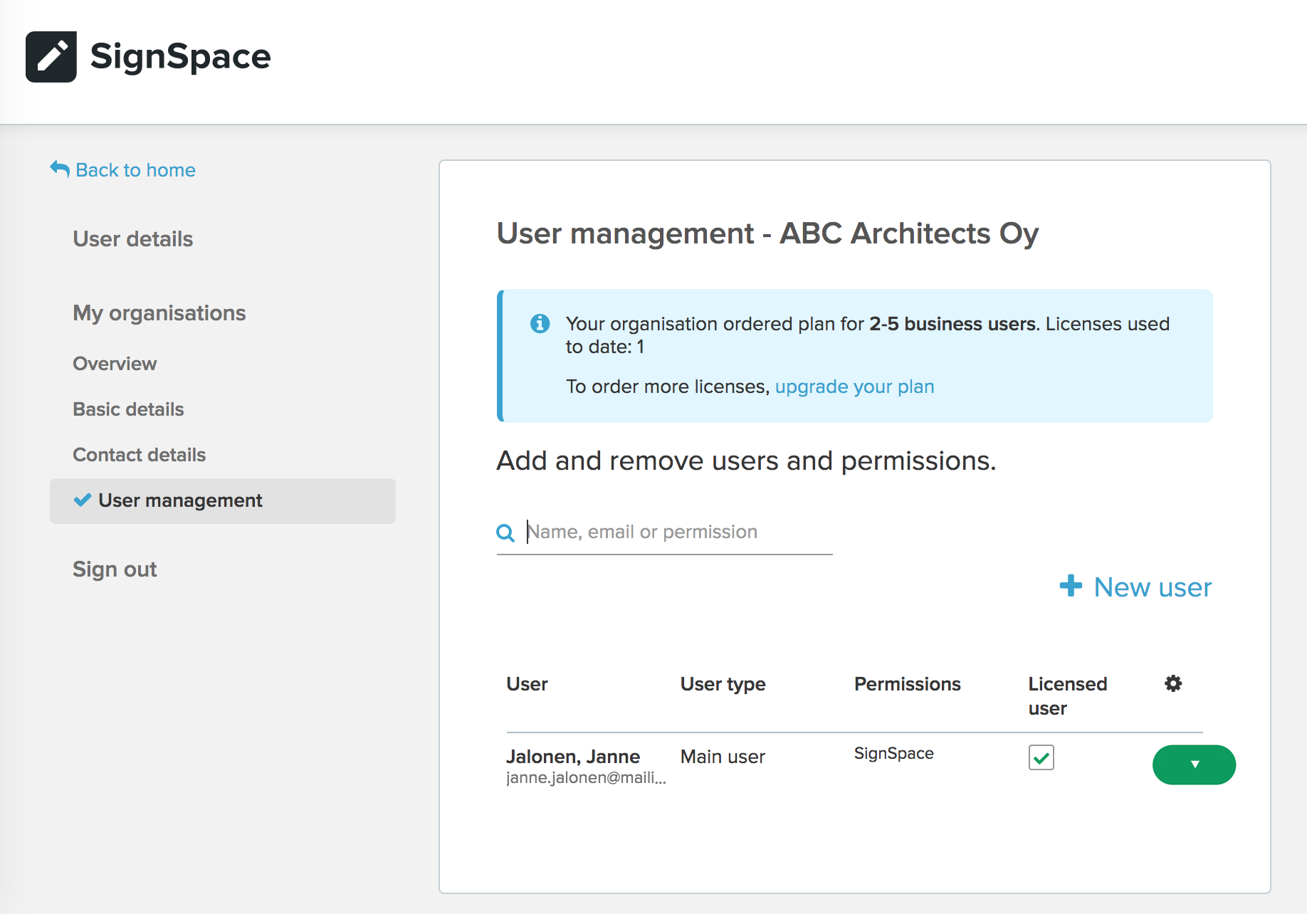 Organization user management page