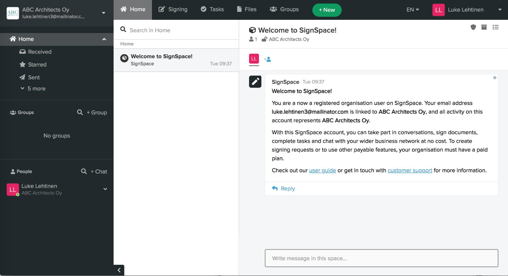 New user invitation form