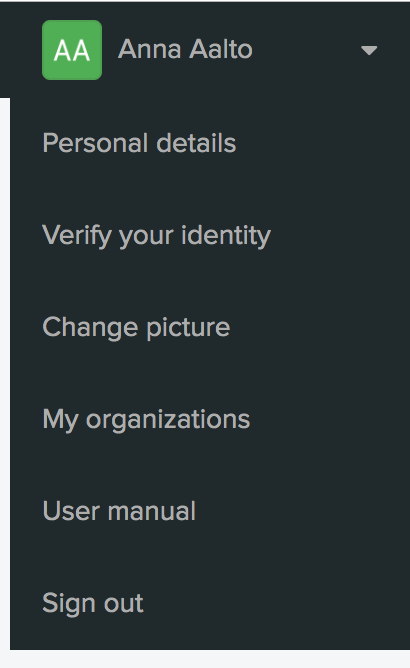 Menu for verifying your identity strongly