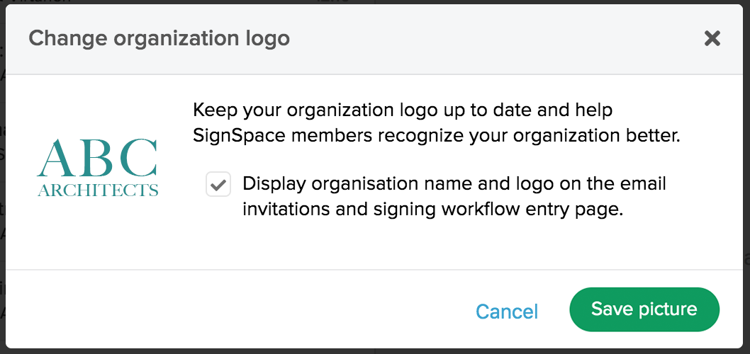 Save changes to your organization logo