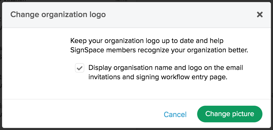 Modal for changing organization logo