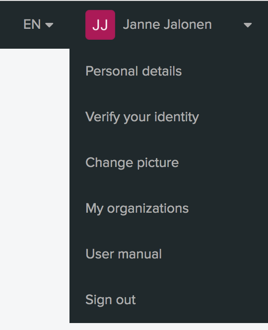 Personal settings menu