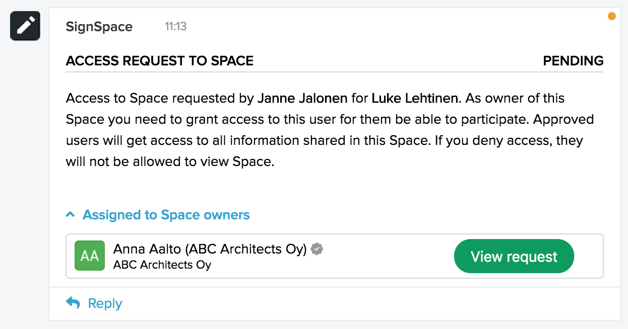 Authentication level selector for the space