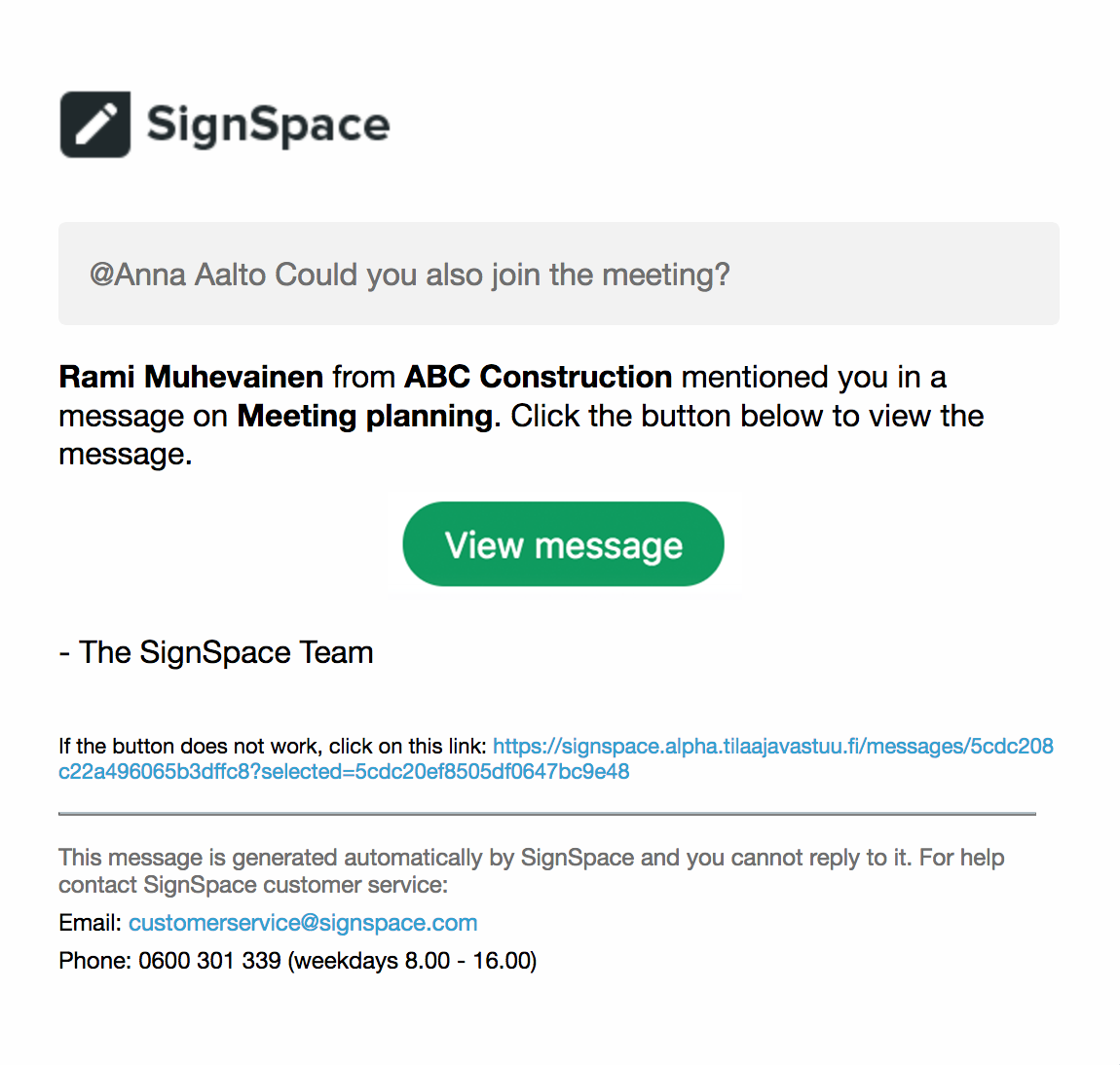 Email invitation to a space