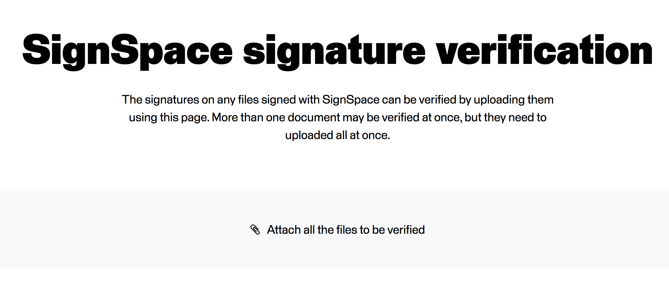 Signature verification file upload page