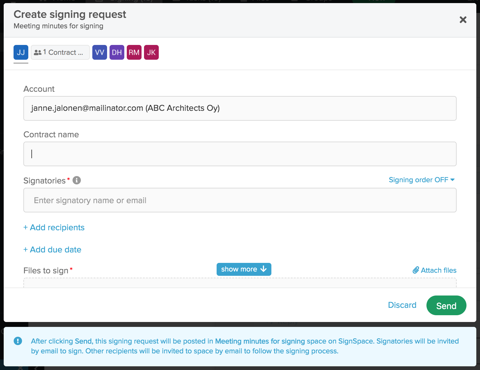 New signing request form for posting in an existing space