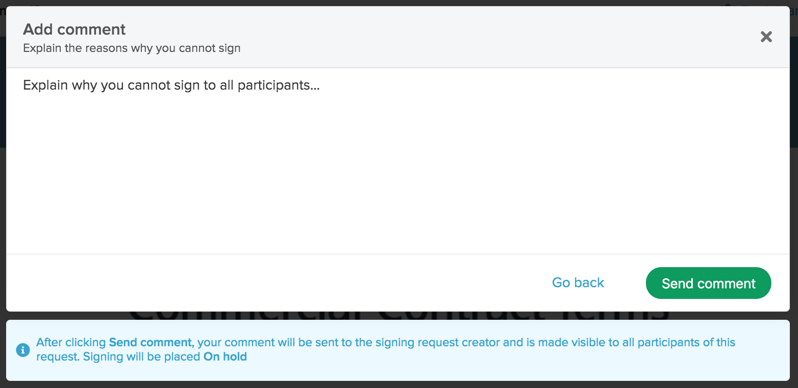 Context menu for canceling a signing request