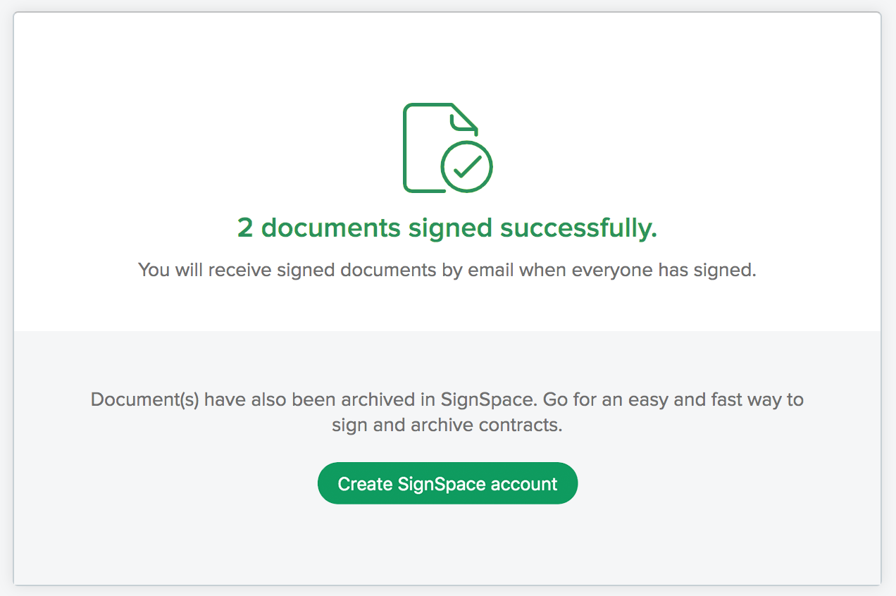 Signing request on SignSpace Key app