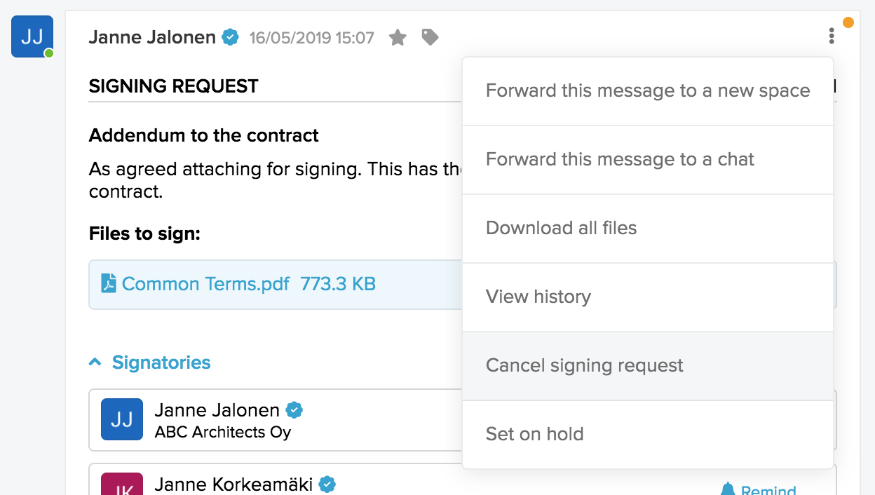 Icon activating inline reply bar for a message