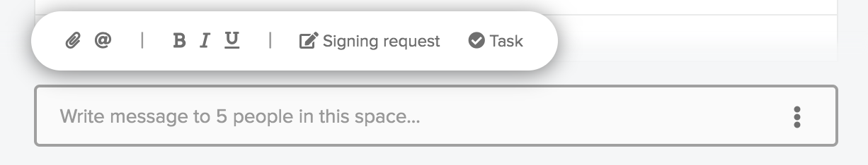 The space where signing request is located