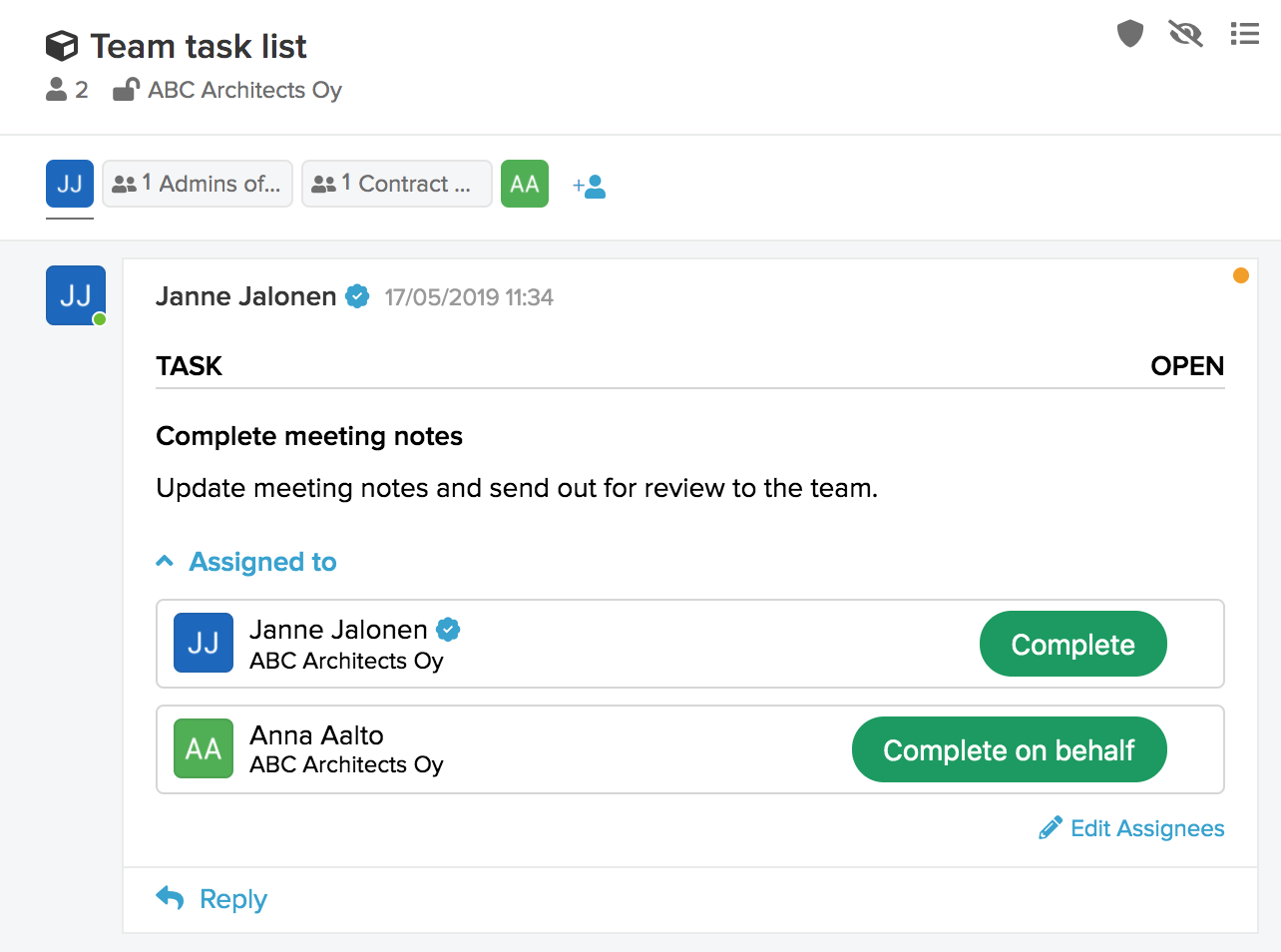 New task form for posting in existing space