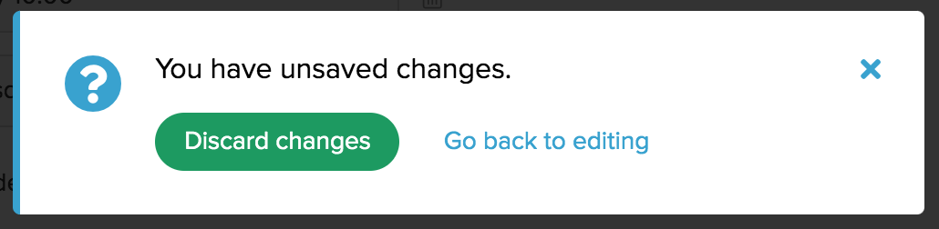 Confirmation to discard unsaved changes for a task form