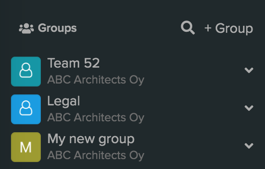 Input field for adding new users to a group